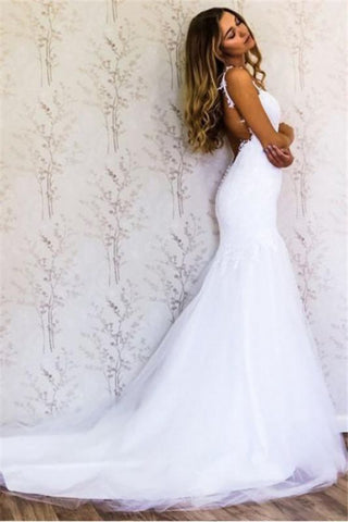 Backless Open Back Lace Appliques Straps  Wedding Dress