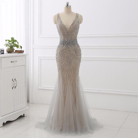Silver Crystal V Neck Evening Prom Dress