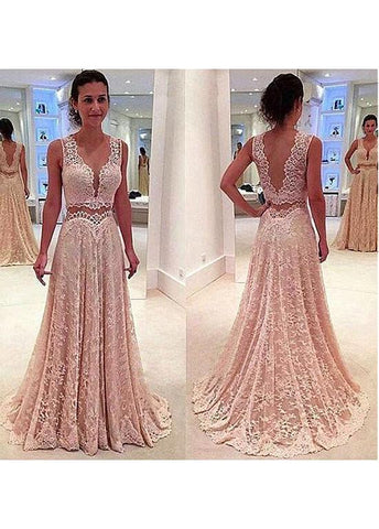 Modest Lace V-neck Neckline Two-piece A-line Prom Dresses With Lace Appliques
