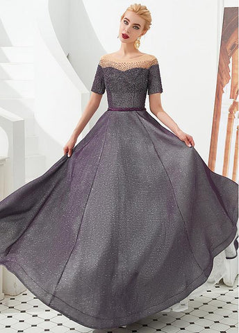 Tulle Off-the-shoulder A-line Formal & Evening Dress with Ceinture