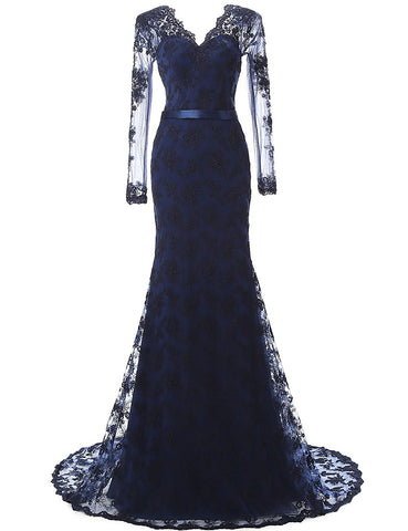 Navy Blue Lace and Tulle V-Neck Mermaid Evening Dress