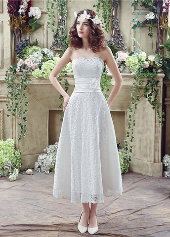 Lace Strapless A-line Tea-length Wedding Dresses With Handmade Flower