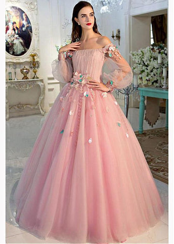 Tulle Off-the-shoulder Pink Long Sleeves Ball Gown Prom Dress With 3D Flowers