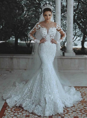 Long Sleeve White Mermaid Tulle Lace Appliques Wedding Dress