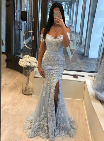 Off the Shoulder Light Blue Tulle Appliques Mermaid Prom Dress