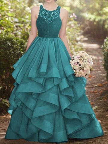 Ball Gown Green Round Neck Lace Tulle Long Ruffles Prom Dress