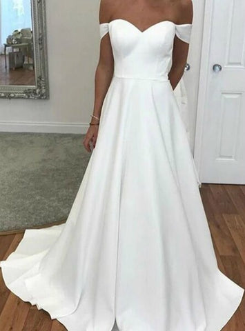 A-Line White Long Satin Off the Shoulder Wedding Dress