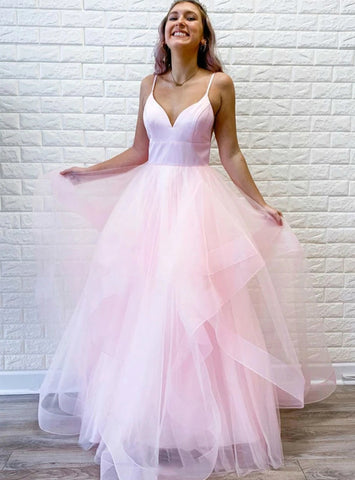 Sleeveless A-Line Pink Tulle V-neck Long Prom Dress