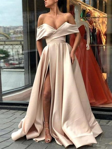 Champagne Long Off Shoulder Satin Prom Dress with Slit