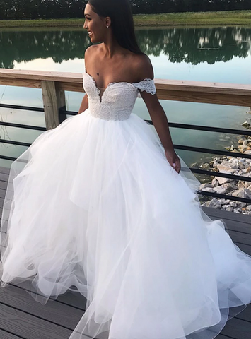 Off the Shoulder White Tulle Ball Gown Wedding Dress