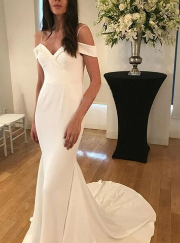 Satin Spaghetti Straps Simple Mermaid Wedding Dress