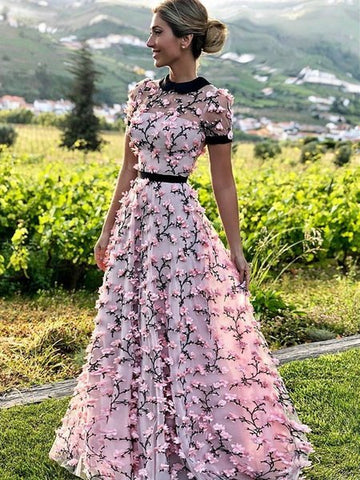 Pink Short Sleeves 3D Flowers A Line Round Neck Prom Dress