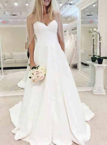 A-Line Simple White Satin Sweetheart Wedding Dress With Pocket
