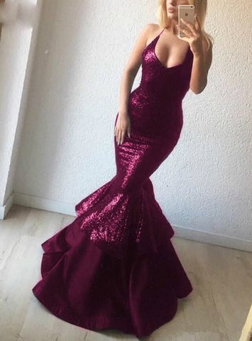 Sexy Black Sequins V-neck Mermaid Long Prom Dress