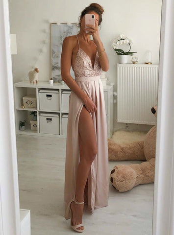 Shop 2020 Sequins V-neck Backless A-Line Pink Chiffon Prom Dress With Side Split Under 100