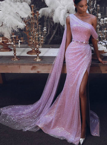 Mermaid Pink Sequins One Shoulder Tulle Beading Prom Dress