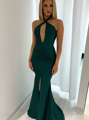 Backless Long Green Satin Halter Mermaid Prom Dress