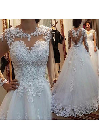 Tulle Jewe Neckline A-line Wedding Dress With Beaded Lace Appliques & Bowknot