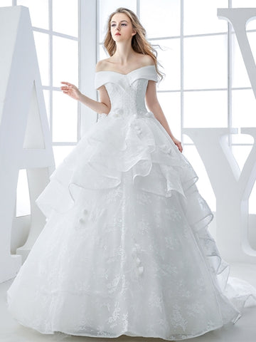 Off-The-Shoulder Lace Court Train Ball Gown Wedding Dress