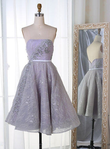 Lace Pearls Strapless Short Light Grey Homecoming Dress