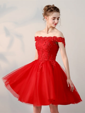Off-the-Shoulder Appliques Pearls Sashes Red Homecoming Dress