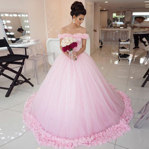 Pink Tulle Wedding Dress with Flowers