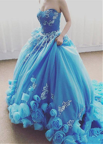 Blue Handmade Flower Ball Gown Prom Dress