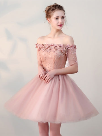 Pink Lace Half Sleeves Short Homecoming Dress