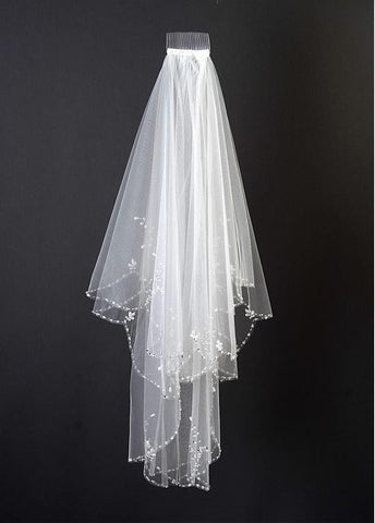eautiful Ivory Tulle Two-Tier Beading Elbow Wedding Veil With Comb