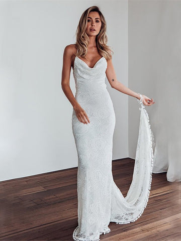 Sheath Column Lace Spaghetti Straps Wedding Dress