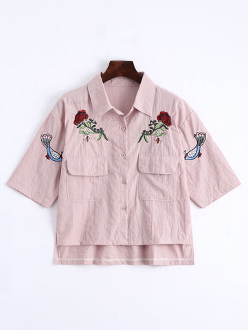 Pink Floral Patched Button Up Pockets Shirt