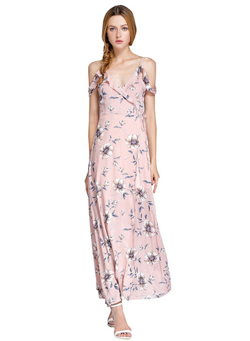 Pink Split Floral Off-shoulder Beach Party Maxi Dress