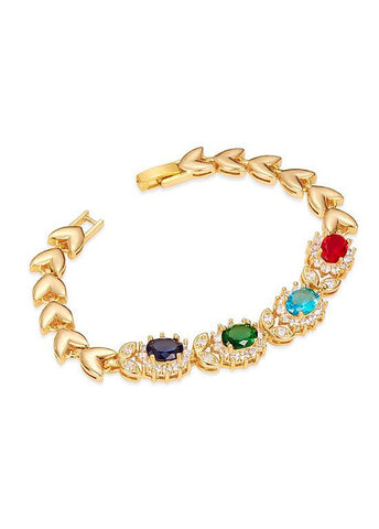 18K Gold Plated Bracelet, Flowers with Multicolor AAA Zircons, Golden, 180mm