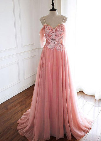 Tulle Spaghetti Straps 3D Flowers Beading Coral A-line Prom Dress