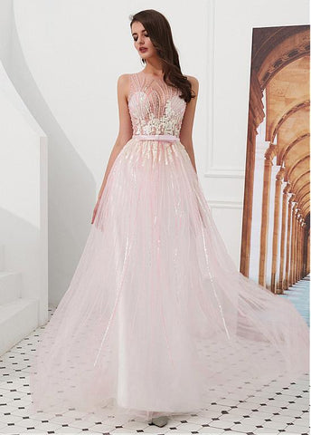 Tulle Jewel Pink A-line Prom Dresses With Beadings