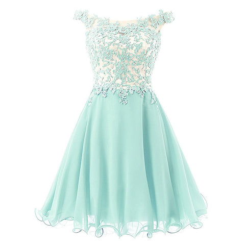 Straps Lace Bodice Short Prom Gown Homecoming Party Dress