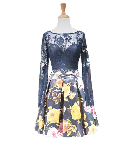 Floral Evening Party Dresses Deep V-Neck Short Homecoming Dresses