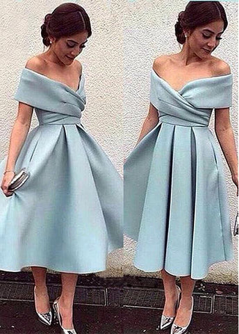 Romantic Satin Off-the-shoulder Neckline A-line Homecoming Dresses