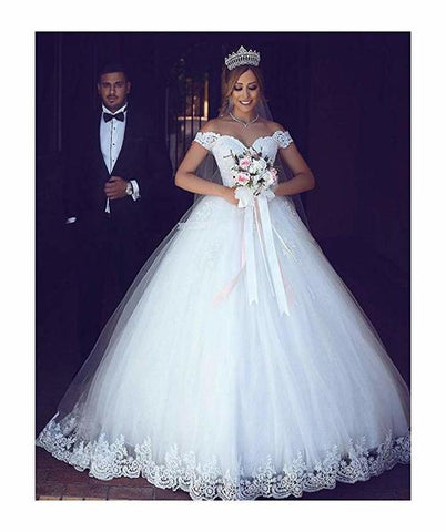 White Off Shoulder Ball Gown Lace Applique Bridal Wedding Dress