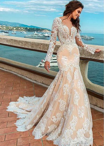 Jewel Beadings & Lace Appliques Mermaid Wedding Dress