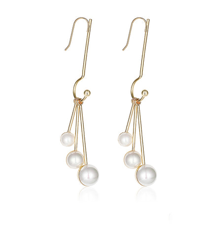 Temperament Imitation Pearl Tassel Long Pendant Earrings