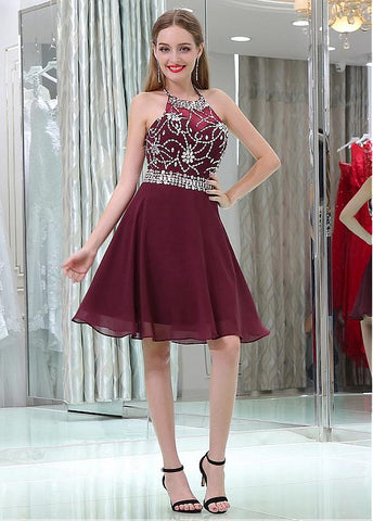 Tulle & Chiffon Halter Neckline Short Length A-line Homecoming Dresses With Beadings