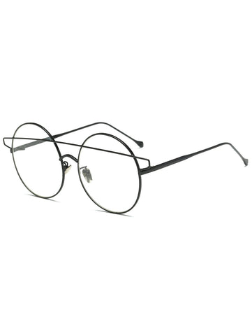Unique Transparent Lens Crossover Round Sunglasses
