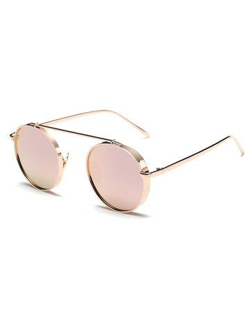 Chunky Frame Round Mirrored Sunglasses
