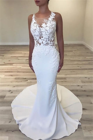 Sheer Back Satin Appliques Sexy Sleeveless Mermaid Wedding Dress