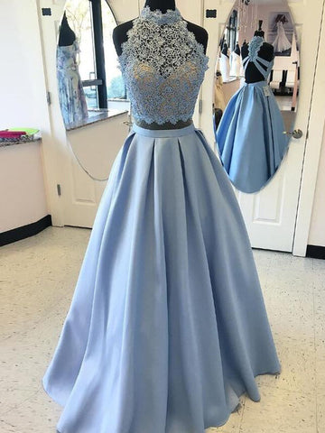 High Neck Blue Applique Satin Two Piece Prom Dress