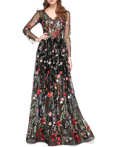 Long Sleeve Lace Floral Prom Dress