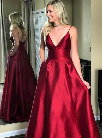 V-Neck Red Satin Prom Dress with Pockets