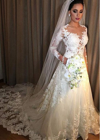 Tulle Jewel Beading Long Sleeves A-line Wedding Dress