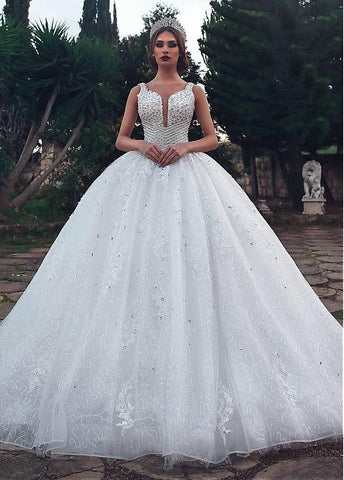 Sequin Tulle Scoop Ball Gown Wedding Dress With Lace Appliques